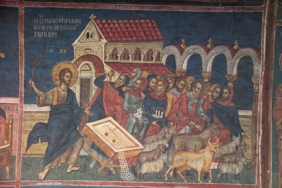 Iisus Hristos alungand zarafii din Templu. Frescă din biserica mănăstirii Decani, Kosovo