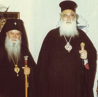 Patriarhul Diodor în vizită la Fili, alături de Mitrop. Chiprian, ian 1990.