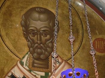 Sfântul Nicolae, icoană de Fotie Kontoglu, detaliu