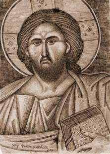 Mântuitorul Iisus Hristos, desen de Fotie Kontoglu