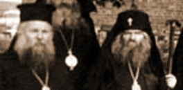 Sfântul Ioan Maximovici în 1963, la sediul Exarhatului american al Bisericii Vechi-Calendariste din Grecia cu arhiepiscopul Petros de Astoria