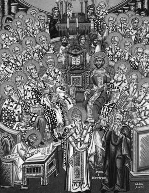 Minunea Sfântului Ierarh Spiridon Făcătorul-de-minuni la Sinodul I Ecumenic de la Niceea, 325